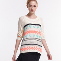 Autumn And Winter New Pattern European Easy Stripe Knitting Unlined Upper Garment Round Neck Sweater