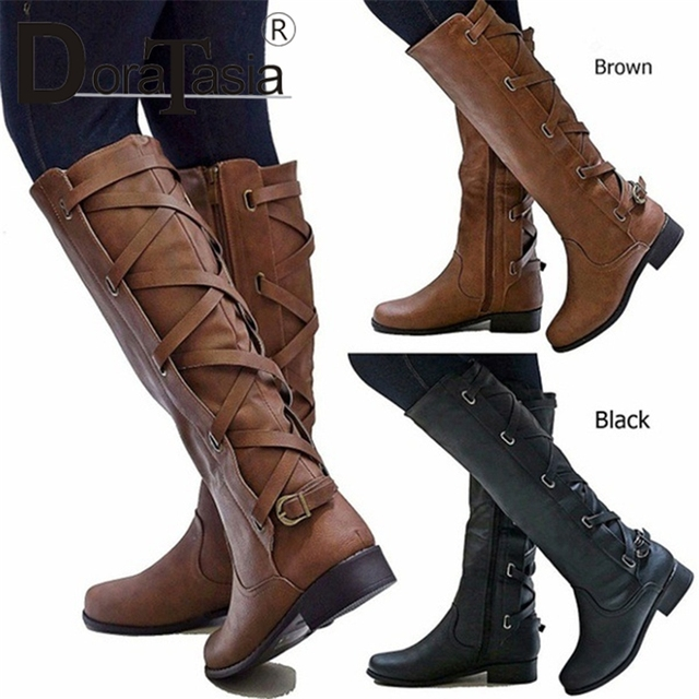 DORATASIA new fashion wide med heels belt buckle solid shoes woman casual women's autumn winter mid calf boots big size 35-43
