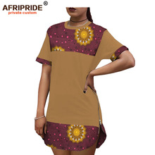2019 African summer new long shirt for women with Two metal zippers ankara and color fabric dashiki slim fit mini dress A1925104