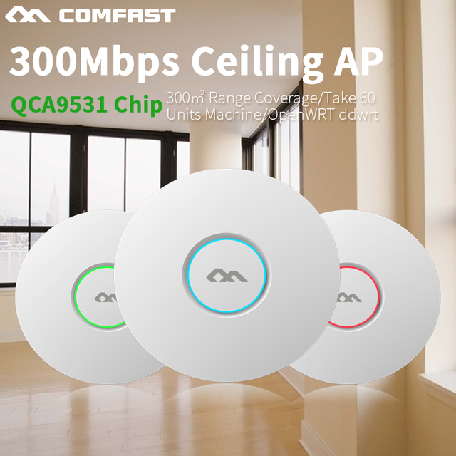 COMFAST беспроводной маршрутизатор 300 Мбит openwrt ddwrt Потолочный AP wifi POE 48 В poe Wi-Fi Точка Доступа 2*3 дби антенна wi-fi мост