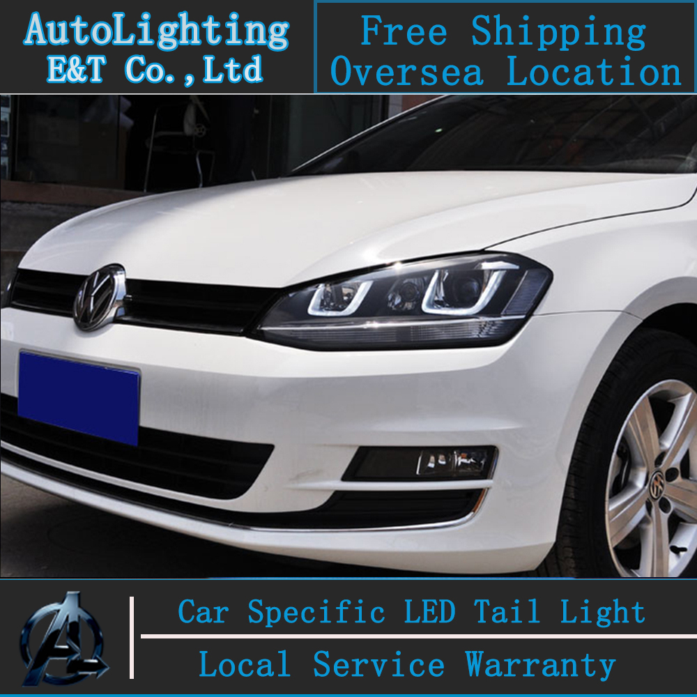 car styling vw golf 7 headlights 2013 2014 golf7 led headlight git head lamp angel eye led drl. Black Bedroom Furniture Sets. Home Design Ideas