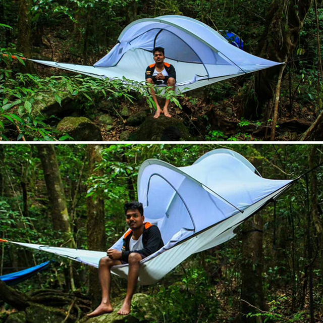 SKYSURF Camping Hanging Tree Tent 3 4 Persons Ultralight Triangle Suspension Hanging Camping Tent Portable Hammock
