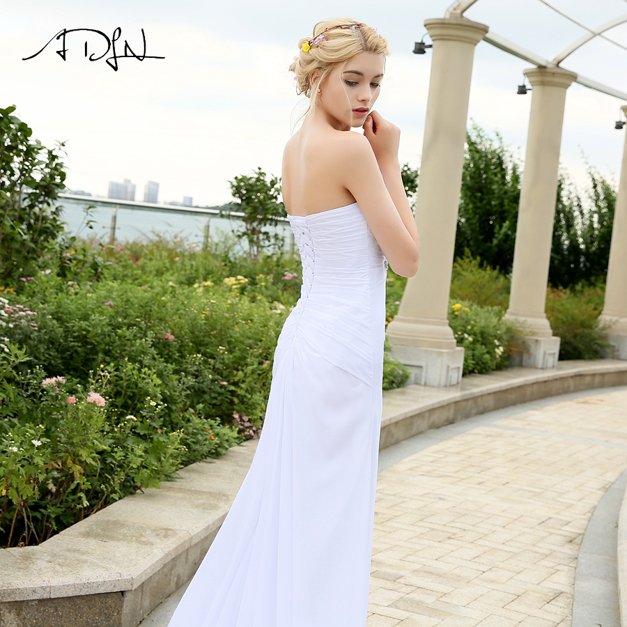 Image 4 - ADLN Real Model Beach Wedding Dress Sweetheart Pleats Crystal  Belt Chiffon Wedding Dresses Plus Size robe de mariee Lace up  BackWedding Dresses
