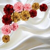 12 adet SET Simülasyon Dev kağıt Çiçek Düğün Arka Plan Için Stereo El Yapımı Bitmiş Gül Süslemeleri Deco