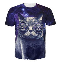 New Arrivals 3D Printed T-shirts Mens Fashion Style Cool Cat With Sungl