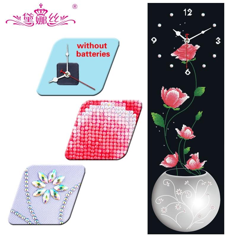 DaiNaSi Wall Clock diamond embroidery Cross Stitch Flower Watch Diamond Mosaic Rhinestones 5D DIY diamond painting DF2609