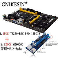Newest TB250 BTC PRO 12PCIE 12Pcs Riser Card Can 12 Video Card Mining Motherboard For BTC