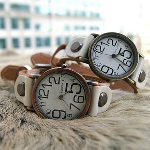 cow leather watch~~~Free shipping number handmade vintage watch for men and women