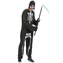 Umorden Mens Horror Skeleton Death Grim Reaper Costume Halloween Carnival Dia de los Muertos Day of the Dead Cosplay