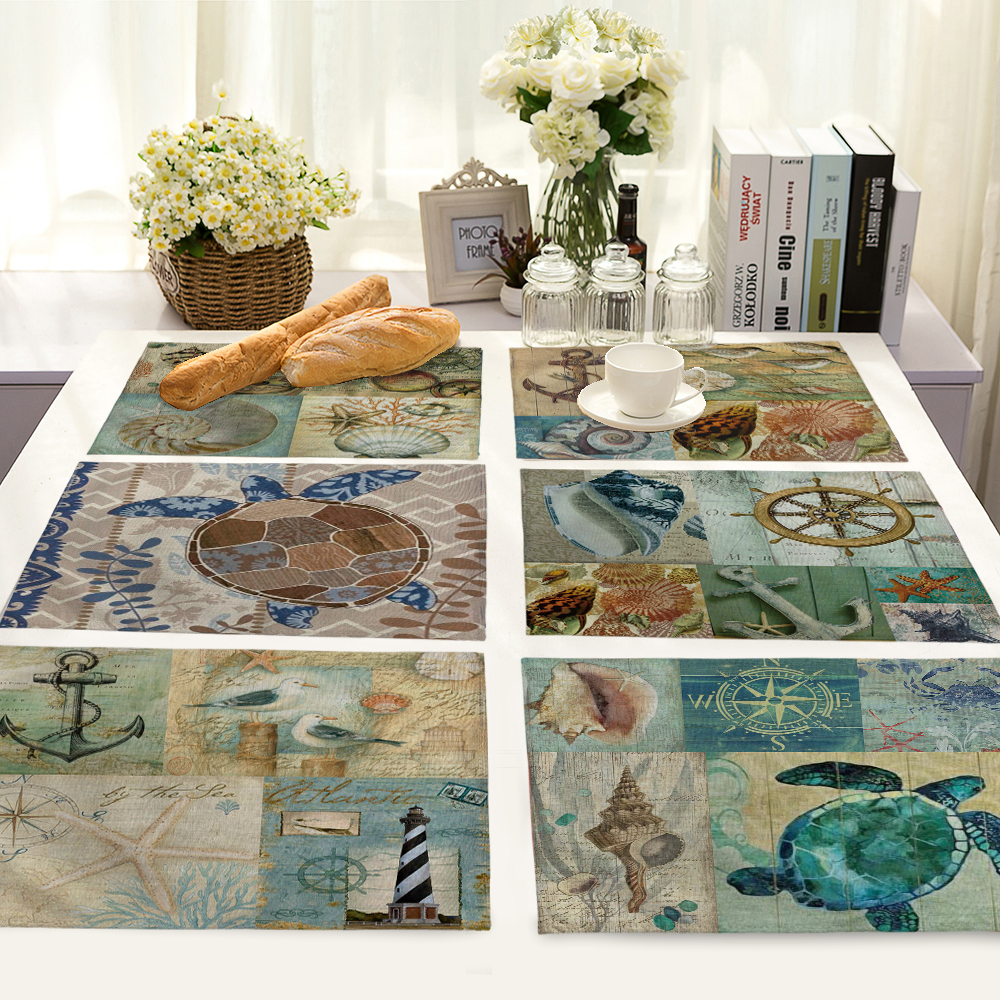 42*32cm sailing/ocean Pattern Table Dinner Burlap Napkin Placemats For Party Home Decor Table Napkins MS0024