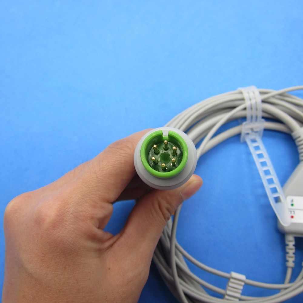 Cable ECG de una sola pieza con Clip de 3 cables para Edan IM8B, monitor de paciente IM9B