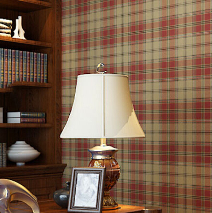High Quality Red Plaid Wall Papaer Tartan Designer Feature Wallpaper Traditional Scottish Roll