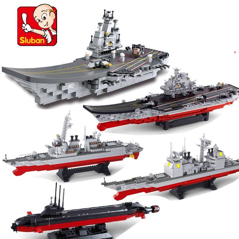 Sluban Army Navy Liaoning Aircraft Cruiser Destroyer Nuclear Submarine Ship Boat Building Blocks Bricks Toy for