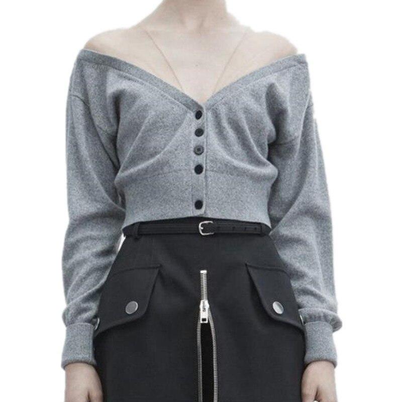 Autumn New V Neck Sexy High Waist Knitting Cardigan Short Woman Thin Sweater