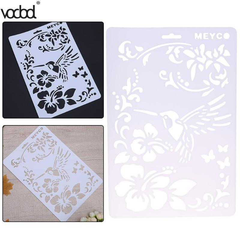 Plastic Bird Flower  pattern template Layering Stencils Painting Scrap 8