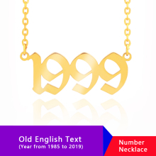 Old English Numbers Necklace Collares Roma Number Date Custom Necklaces Pendants Stainless Steel Personalized Choker Jewelry