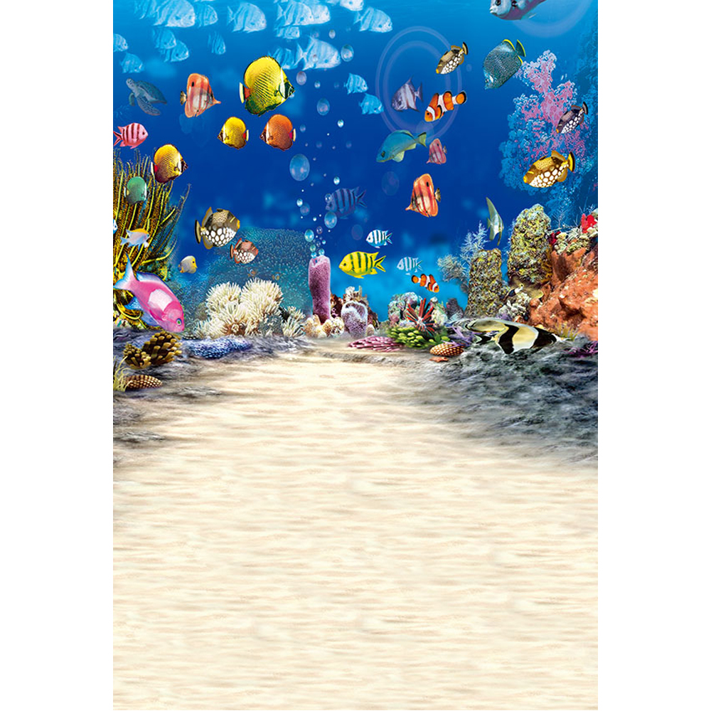 Under the Sea World Photography Background Printed Colorful Fishes Blue Ocean Baby Kids Children Aquarium Photo Shoot Backdrops image