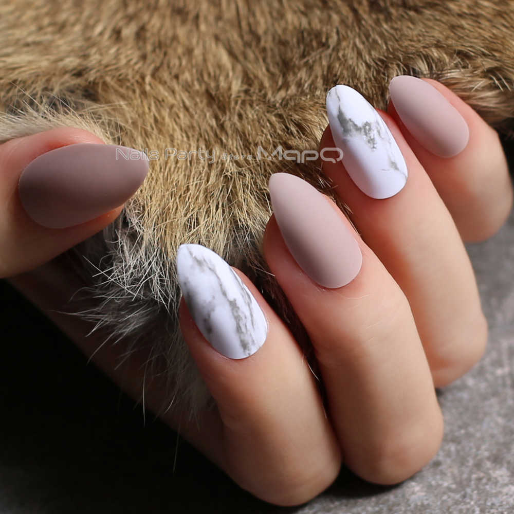 Nude Matte Nail Marble Texture Fake Nail Customized nails pink DIY stiletto false nails red Medium Jazz white marble black