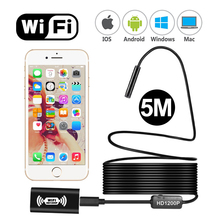 Wifi Digital camera Endoscope HD 1200p 8mm mini Wi-fi Endoscope Cam Android IOS YPC110b 5M Semi-Inflexible Cable Waterproof OTG Endoskop