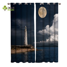 Dear House Curtains Lighthouse View At Night Curtains Living Room Decor(China)