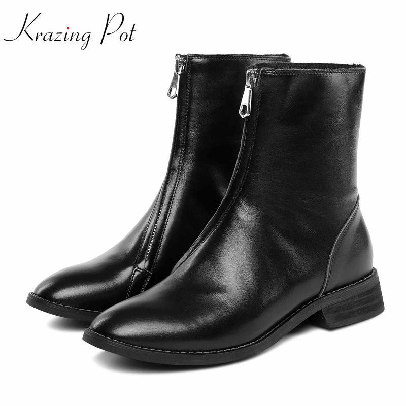 Krazing pot genuine leather round toe front zipper low heels superstar concise design Korean version gladiator ankle boots L37 цена 2017