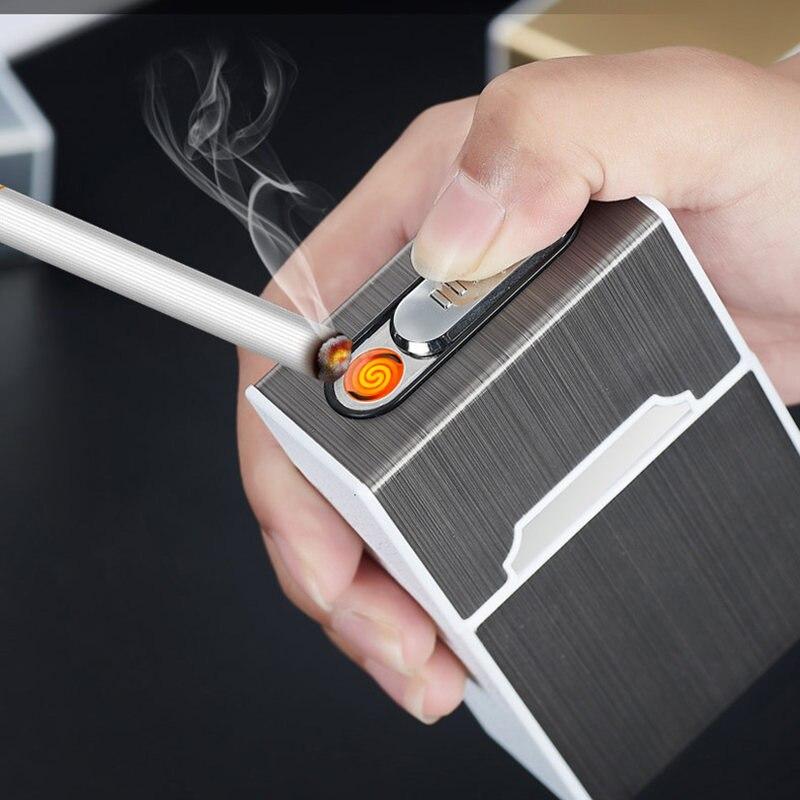 Tragbare USB Elektronische Zigarette Fall Box Mit Leichter 20 stücke Zigarette Halter USB Lade Leichter Gadgets Für Männer