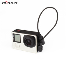 SOONSUN 3.5mm Mic Adapter Stereo Microphone Mini USB Cable Data Transfer Adapter for GoPro Hero 4/3+/3 External Mic Cable