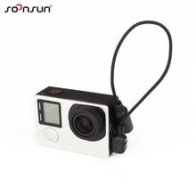 SOONSUN 3.5mm Mic Adattatore Microfono Stereo Mini USB di Trasferimento Dati Via Cavo Adattatore per GoPro Hero 4/3 +/3 microfono esterno Cavo