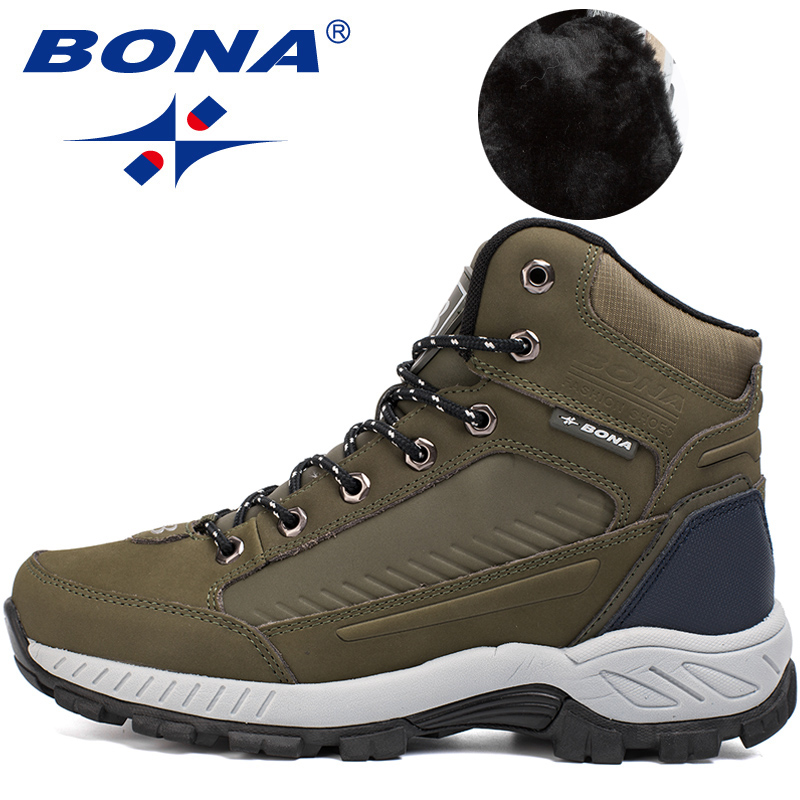 BONA New Popular Style Men Hiking Shoes Outdoor Walkng Jogging Trekking Sneakers Lace Up Climbing Boots For Men Free Shipping-in Hiking Shoes from Sports & Entertainment