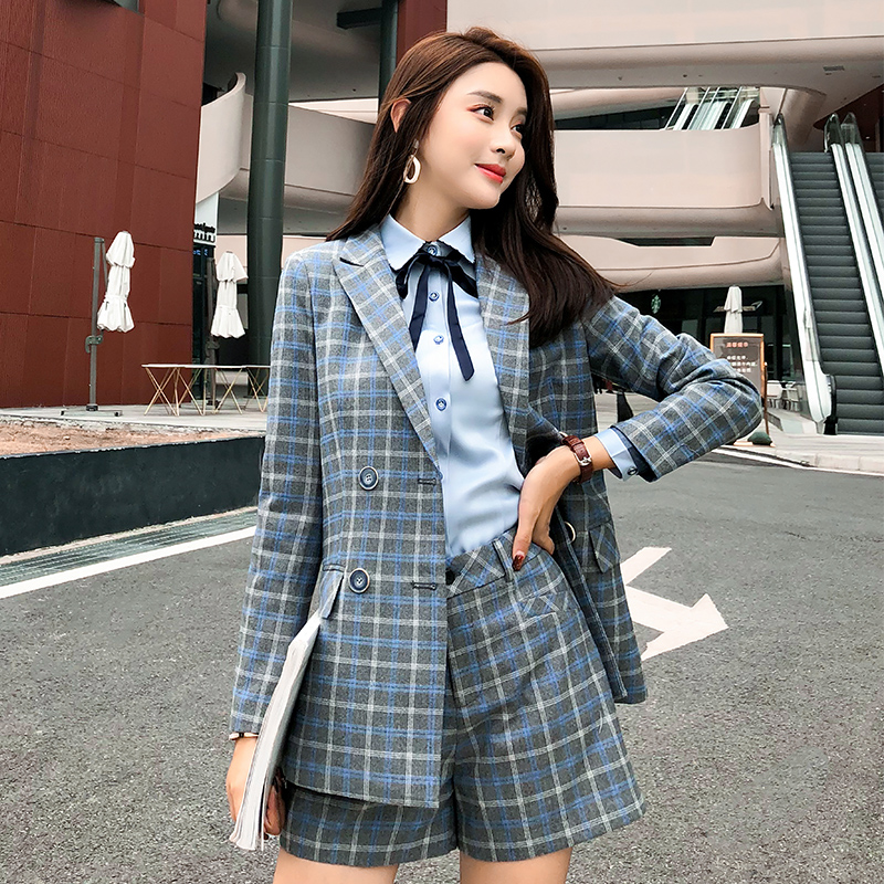 Brown Plaid Office Jacket New 2019 High Quality Fashion OL Women Long Blazer Casual Wear Long Sleeve Coat Lady Top with Pocket