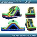 Carriles laterales doule tobogán inflable para niños y adultos PVC juego inflable con ventilador