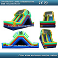 doule sides lanes inflatable slide for kids and adult PVC inflatable slide game with blower