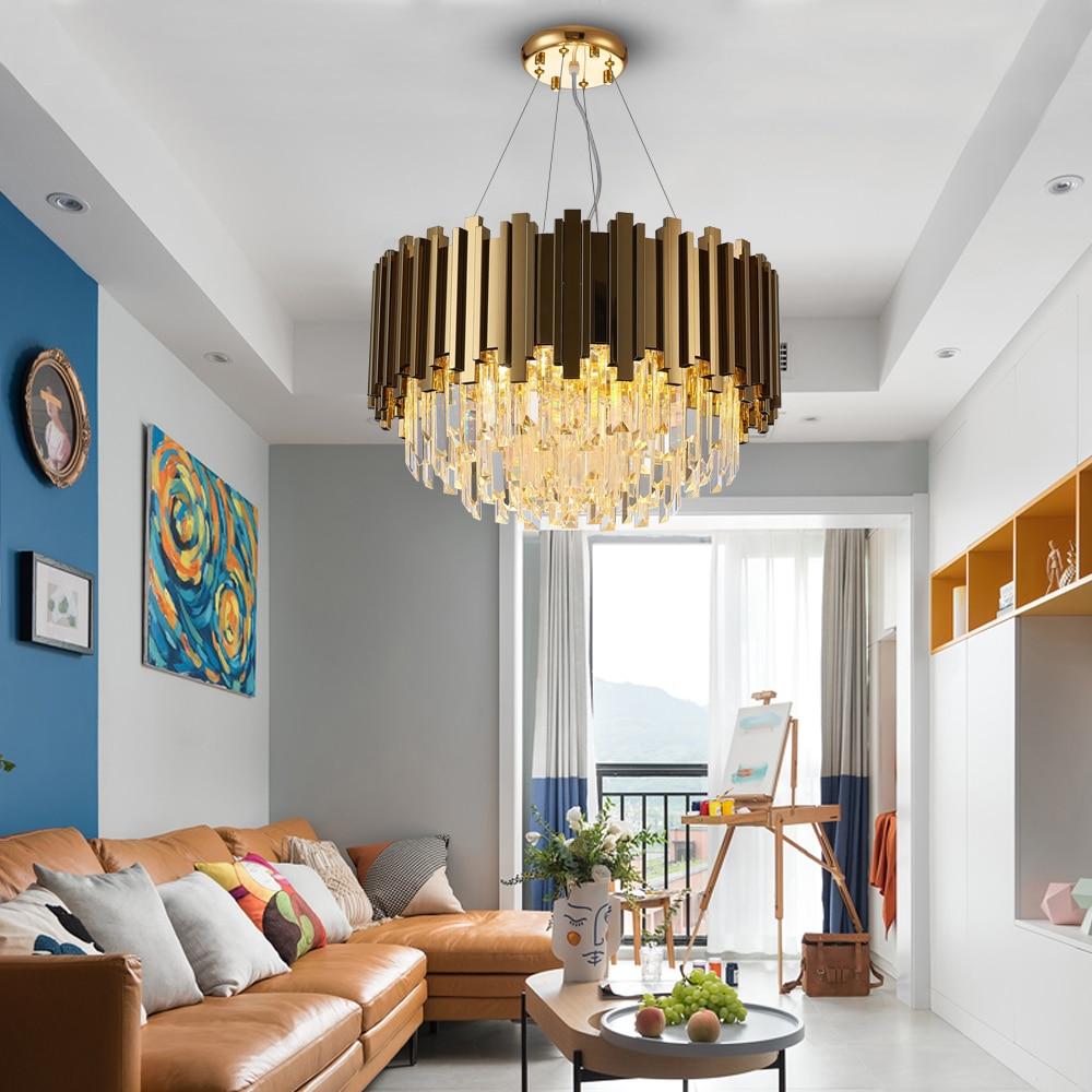 Youlaike Modern Gold Chandelier Lighting Luxury Crystal LED Lamp Living Room Dining Room Polished Steel Hanging