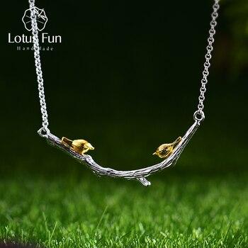 Lotus Spaß Echt 925 Sterling Silber Natürliche Original Handgemachtes Feine Schmuck 18K Gold Vogel auf Zweig Halskette für Frauen geschenk Bijoux