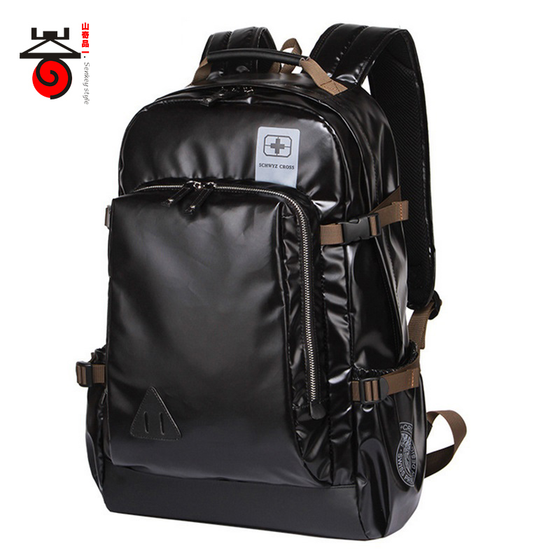 ФОТО Senkey style Leisure High Capacity Quality Men Backpack Fashion High Grade Leather Designer Business Men Schoolbag Travel Laptop