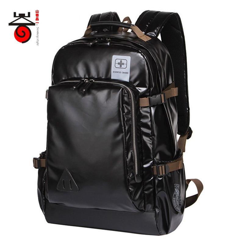 ФОТО Senkey style Leisure  Capacity Men Backpack Leather Designer Business Schoolbag Travel Laptop