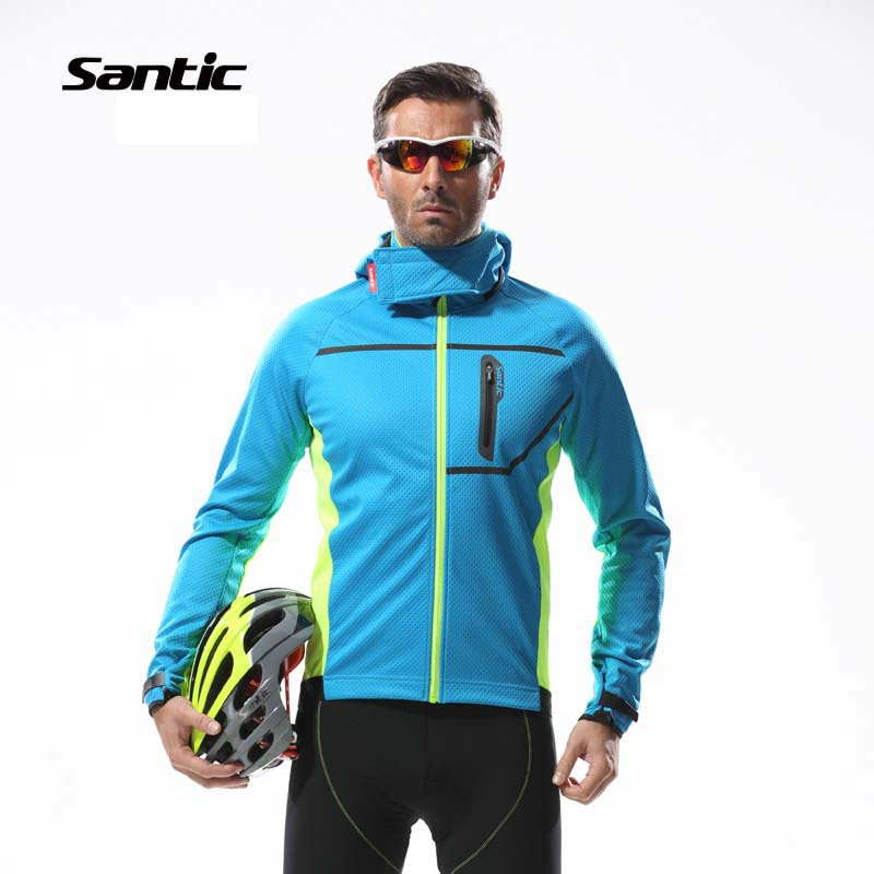 Santic Thermal Cycling Jersey Winter Warm Up Bicycle Clothing Windproof Bike Jersey Riding Wind Coat Men Blue&Green Long Sleeve veobike winter windproof thermal fleece reflective bike bicycle jersey warm cycling wind coat jackets pants set for men women