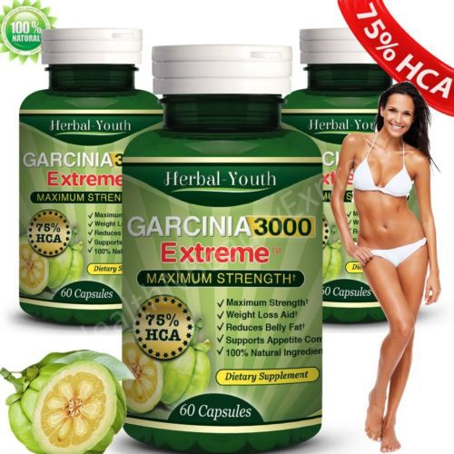 3 X Bottles 180 Caps 3000mg Daily Garcinia Cambogia Hca 75 Weight