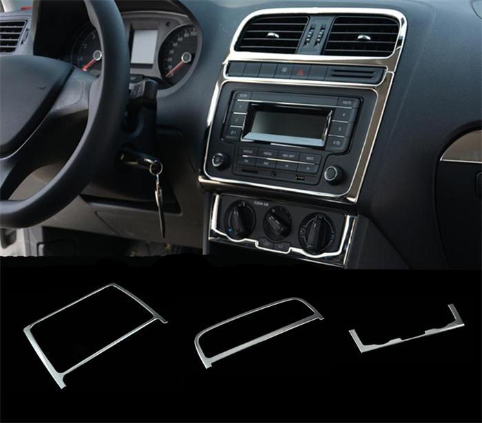 Автомобильный Стайлинг для Volkswagen vw POLO интерьерная крышка наклейка отделка кондиционера CD панель управления Авто воздушный выход украшение - Название цвета: Silver