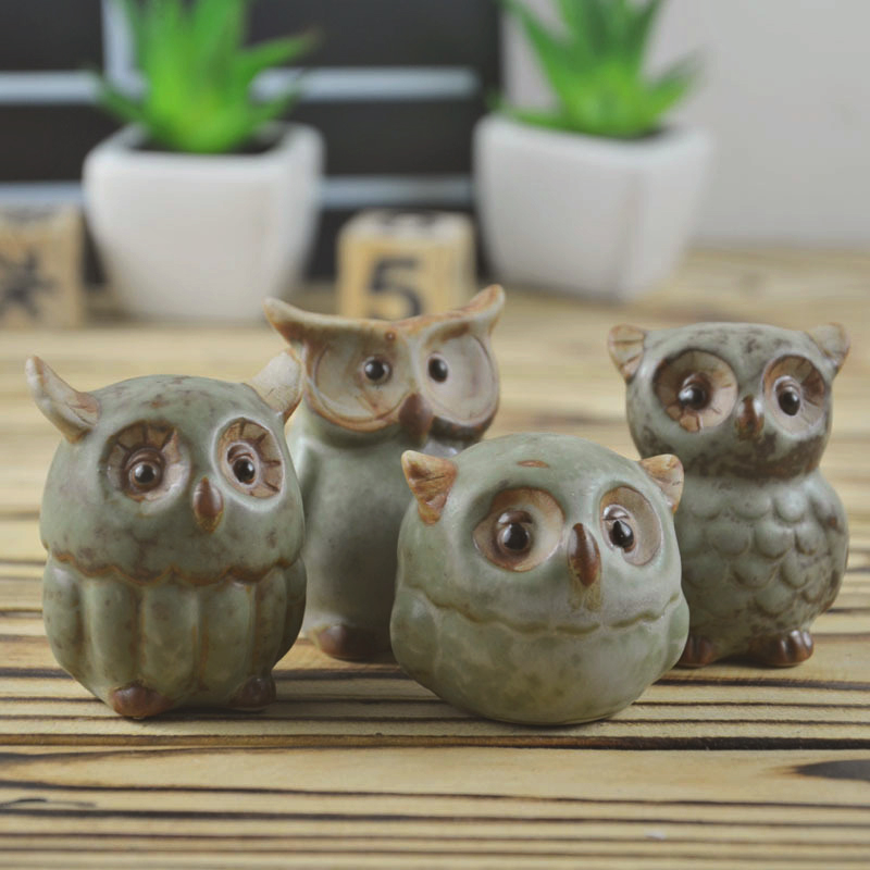 4pcs/set Ceramic OWL crafts hand made ornament creative birthday gift married Gift ornaments home decoration accessories kid toy