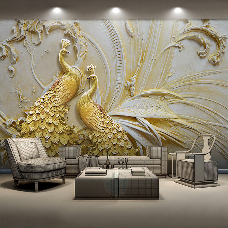 Custom Mural Wallpaper For Walls 3D Stereoscopic Embossed Golden Peacock Background Wall Painting Living Room Bedroom Home Decor