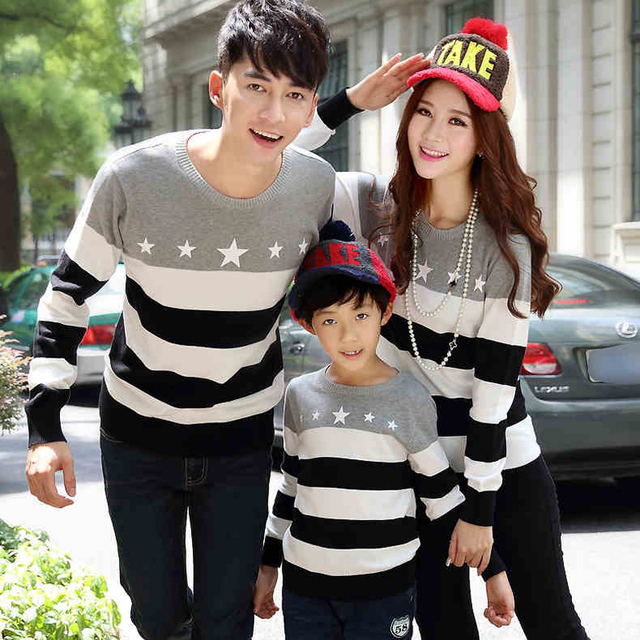 Matching Family Clothing Sweater 2016 Spring Autumn Winter Family Look Matching Mother Daughter Father Son Striped Sweater