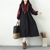 Spring Autumn Female V Neck Long Vintage Dress Women Puff Sleeve Flowers Embroidered Cotton Dresses Black
