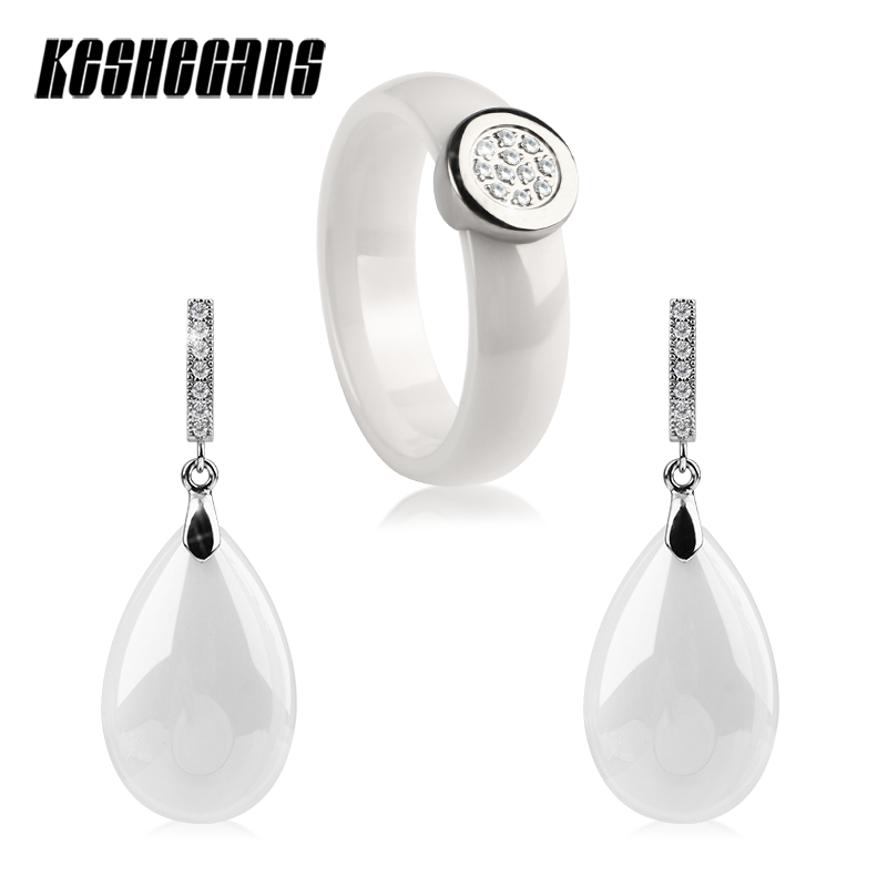 2018 New Fashion Jewelry Set 6MM Wide Rings With White Water Drop Earrings Elegant White Jewelry Set Women Bridal Jewelry Sets цена и фото