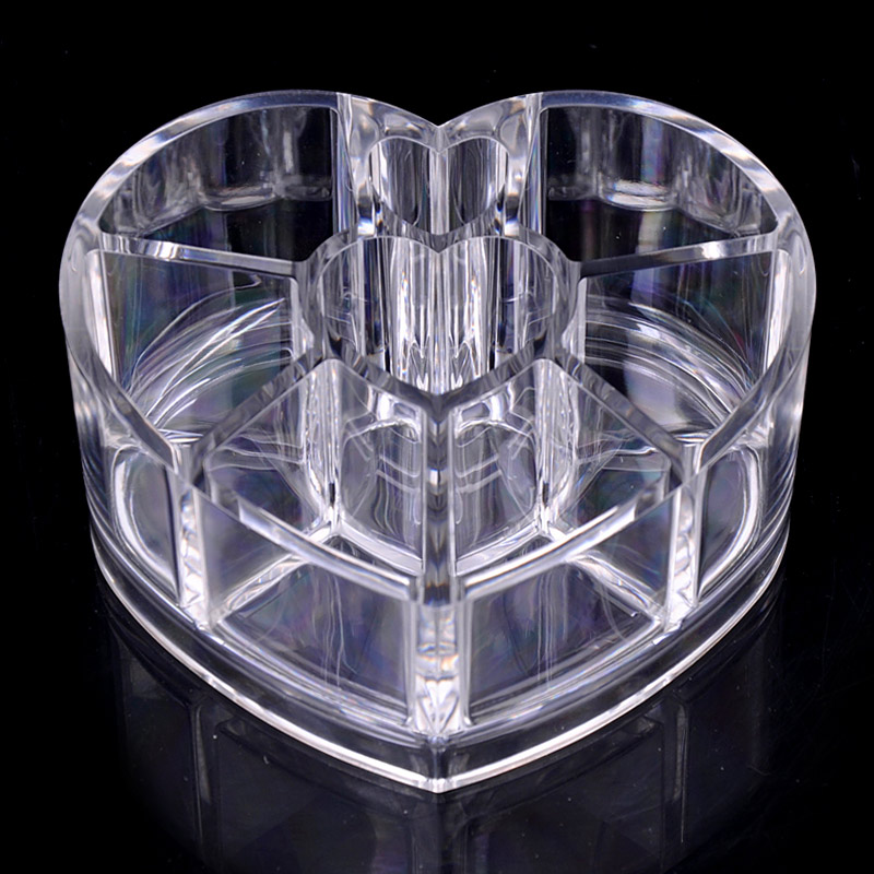 Desktop Storage Box Acrylic Heart-shaped Makeup Organizer Rack Holder WH998 ...