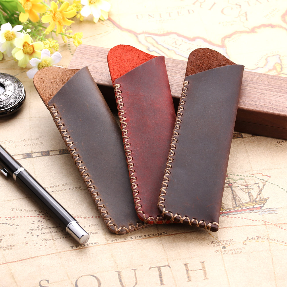 Genuine Leather Pen Pouch Holder Double Pencil Bag Pen Case Sleeve For Fountain/Ballpoint Pen,  Travel Diary Pen Cover