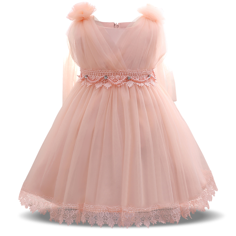 2017 summer pink lace baby princess dress kids child