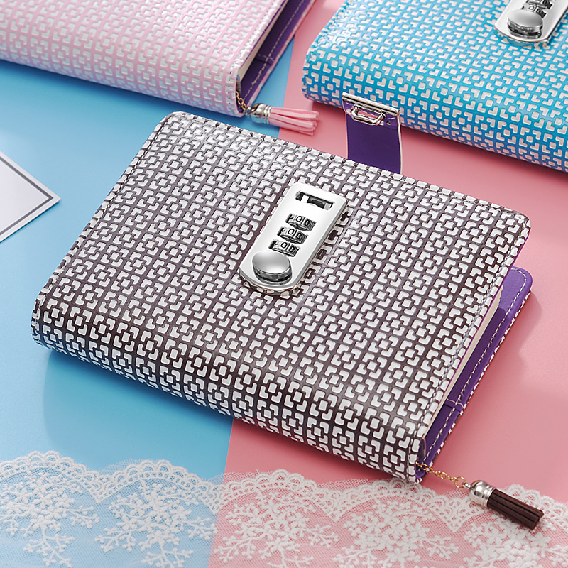 NEW Leather notebook diary with lock code password Notepad paper 100 sheets creative trends stationery products supplies gift hot diary with lock code leather notebook paper128 sheets notepad note book creative trends pringed office school supplies gift