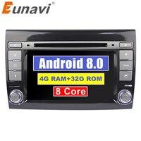 Eunavi Android 8.0 4G RAM Car DVD Player 7'' Autoradio GPS Navigation For Fiat Bravo 2007 2008 2009 Radio Stereo Bluetooth USB