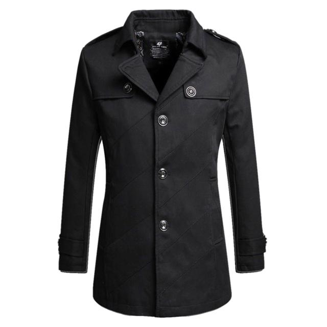 2016 New Arrival Moda Sólidos Homens do Revestimento de Trincheira Dragona Fino Grosso Com Lã Blusão Jaqueta Casaco Plus Size 13M0435